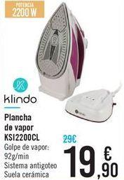 Oferta de Plancha de vapor KSI2200CL KLINDO por 19,9€