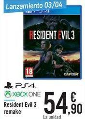 Oferta de Resident Evil 3 Remake  por 54.9€
