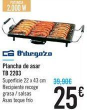Oferta de Plancha de asar TB 2203 Orbegozo por 25€