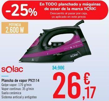 Oferta de Plancha de vapor PV2114 Solac  por 26,17€