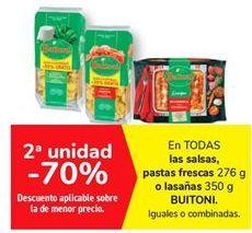 Oferta de En TODAS las salsas, pastas frescas o lasaña BUITONI por