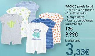 Oferta de Pack 3 Pelele bebé por 9,99€