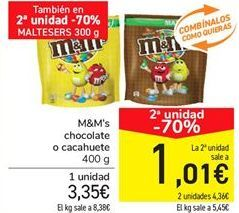 Oferta de M&M's chocolate o cacahuete por 3.35€