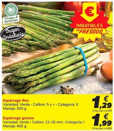 Oferta de Espárragos fino por 1,29€