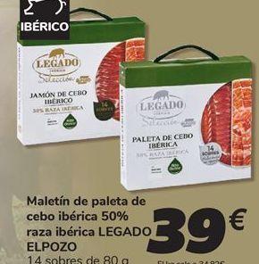 Oferta de Maletín de paleta de cebo ibérica 50% raza ibérica LEGADO EL POZO por 39€