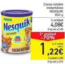 Oferta de Cacao soluble instantáneo NESQUIK por 4.08€