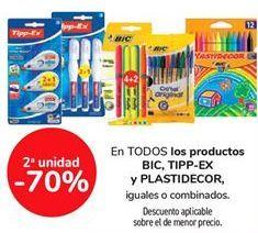 Oferta de En TODOS los productos BIC, TIPP-EX y PLASTIDECOR, iguales o combinados por