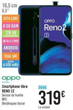 Oferta de Smartphone libre RENO 2Z por 319€