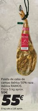 Oferta de Paleta de cebo de campo ibérica 50% raza ibérica RAMOS por 55€