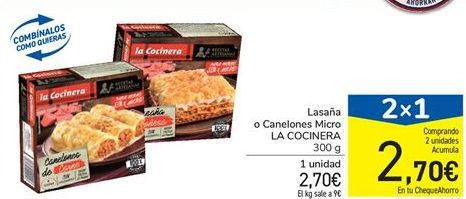 Oferta de Lasaña o Canelones Micro LA COCINERA 300 g por 2,7€