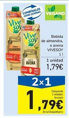 Oferta de Bebida de almendra, o avena VIVESOY 1 l por 1,79€