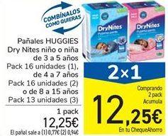 Oferta de Pañales HUGGIES Dry Nites niño o niña de 3 a 5 años Pack 16 unidades (1), de 4 a 7 años Pack 16 unidades (2) o de 8 a 15 años Pack 13 unidades (3) por 12,25€