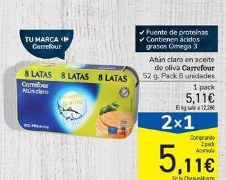 Oferta de Atún claro en aceite de oliva Carrefour por 5.11€