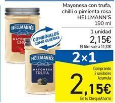 Oferta de Mayonesa con trufa, chilli o pimienta rosa HELLMANN'S 190 ml por 2,15€