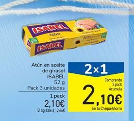 Oferta de Atún en aceite de girasol ISABEL por 2,1€