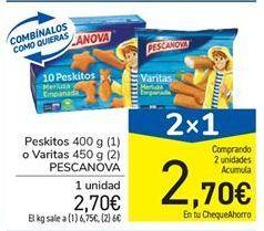 Oferta de Peskitos 400 g (1) o Varitas 450 g (2) PESCANOVA por 2,7€