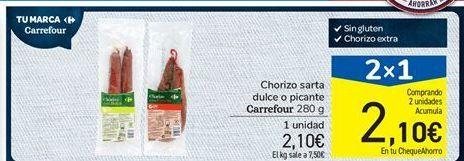 Oferta de Chorizo sarta dulce o picante Carrefour 280 g por 2,1€