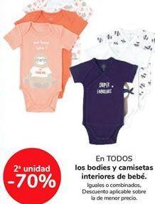 Oferta de En TODOS los bodies y camisetas interiores de bebé por
