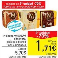 Oferta de Helados MAGNUM almendra, clásico o blanco por 5,7€