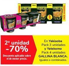 Oferta de En Yakisoba Pack 3 unidades y Yatekomo Pack 4 unidades GALLINA BLANCA por