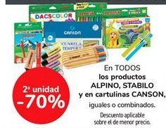 Oferta de En TODOS los productos ALPINO, STABILO y en cartulinas CANSON, iguales o combinados  por