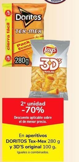Oferta de En aperitivos DORITOS Tex-Mex y 3D's original por