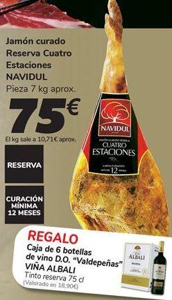 Oferta de Jamón curado Reserva Cuatro Estaciones NAVIDUL por 75€
