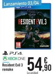 Oferta de Resident Evil 3 Remake  por 54,9€