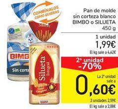 Oferta de Pan de molde sin corteza blanco BIMBO o SILUETA por 1,99€