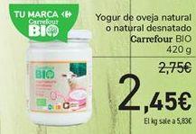 Oferta de Yogur de oveja natural o natural desnatado Carrefour BIO por 2,45€