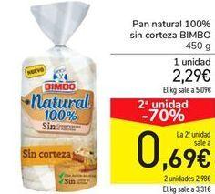 Oferta de Pan natural 100% sin corteza BIMBO por 2,29€