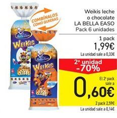 Oferta de Weikis leche o chocolate LA BELLA EASO por 1,99€