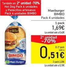 Oferta de Maxiburguer BIMBO por 1,69€