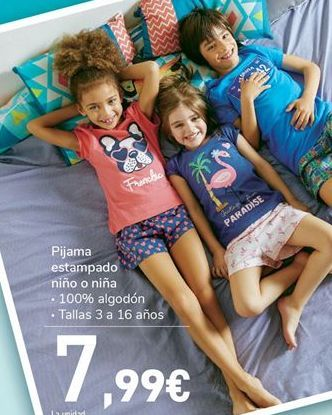 Oferta de Pijama estampado niño o niña por 7.99€
