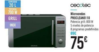 Oferta de Microondas PROCLEAN51 10 por 75€