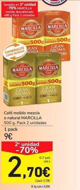 Oferta de Café molido mezcla o natural MARCILLA por 9€