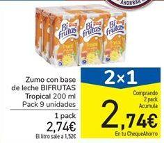 Oferta de Zumo con base de leche BIFRUTAS Tropical 200 ml por 2,74€