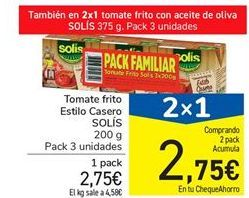 Oferta de Tomate frito Estilo Casero SOLÍS 200 g por 2.75€