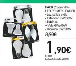 Oferta de PACK 2 bombillas LED PRIMER LEADER por 1,9€