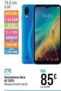 Oferta de Smartphones Libre A5 2020 ZTE por 89.9€