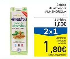 Oferta de Bebida de almendra ALMENDROLA 1 l por 1,8€