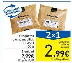 Oferta de Croquetas o empanadillas CLAVO 400 g por 2.99€
