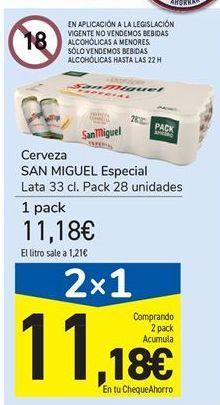 Oferta de Cerveza SAN MIGUEL Especial por 11,18€