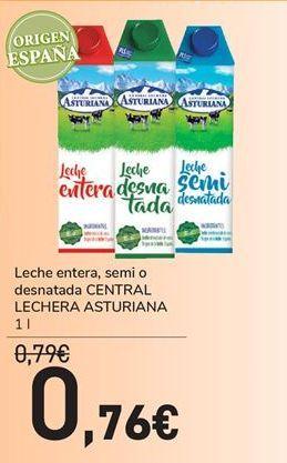 Oferta de Leche entera, semi o desnatada Asturiana por 0,76€
