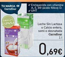 Oferta de Leche sin lactosa o calcio entera, semi o desnatada carrefour por 0,69€