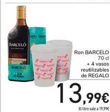 Oferta de Ron Barceló 70 cl + 4 vasos reutilizables de regalo por 13,99€