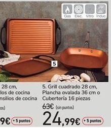 Oferta de Grill cuadrado 28 cm, plancha ovalada 36 cm o cubertería 16 piezas por 63€