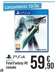 Oferta de PS4 Final Fantasy VII remake por 59.9€