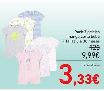 Oferta de Pack 3 peleles manga corta bebé tallas 3 a 36 meses por 9,99€