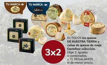 Oferta de Quesos de NUESTRA TIERRA y cuñas de quesos de oveja Carrefour por